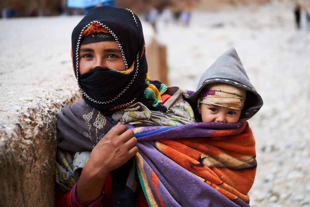 A Nomadic Berber Woman with her Baby